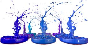3d render of paint splashes isolated on white background. Simulation of 3d splashes on a musical speaker that play music.  stock illustration