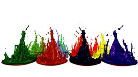 3d render of paint splashes isolated on white background. Simulation of 3d splashes on a musical speaker that play music.  royalty free illustration