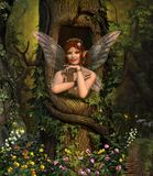 Fairy hiding place in enchanting forest. 3D render painting of a fairy looking out of her hiding place in a tree in an enchanting forest stock illustration