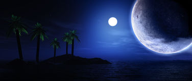 3D render of palm tree island with planets Stock Photos