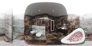 3d render panorama of bathroom interior design Royalty Free Stock Images