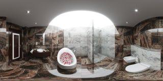 3d render panorama of bathroom interior design. 3d illustration spherical 360 degrees, seamless panorama of bathroom interior design in modern style Stock Images