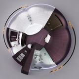 3d render 360 panorama of bathroom interior. 3d illustration spherical 360 degrees, seamless panorama of  bathroom interior design. Tiny little world Stock Photos