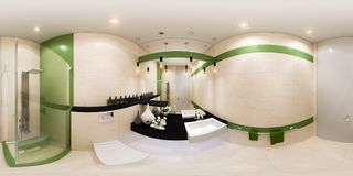 3d render panorama interior design of a bathroom in modern style stock illustration