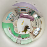 3d Render 360 panorama of living room interior Stock Photography