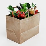 3D Render of Paper Bag with Vegetable Stock Images