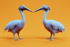 3D Render of Pelicans. Realistic 3D Render of Pelicans Stock Image