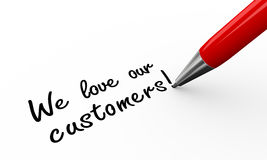 3d pen writing we love our customers. 3d render of pen writing we love our customers on white paper background Royalty Free Stock Photography