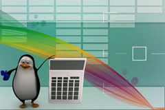 3d render of a penguin with a calculator Illustration Royalty Free Stock Image