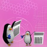 3d render of a penguin with a calculator Illustration Stock Photography