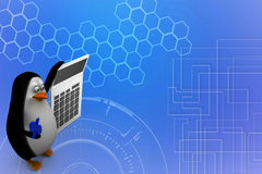 3d render of a penguin with a calculator Illustration Stock Image