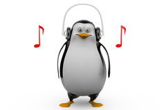 3d render of a penguin in glasses listening to tunes on his headphones Stock Images