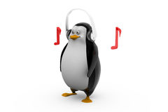 3d render of a penguin in glasses listening to tunes on his headphones Stock Image