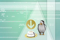 3d render of a  penguin  guy with service bell Illustration Stock Photos