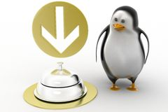 3d render of a  penguin  guy with service bell Royalty Free Stock Photos