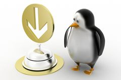 3d render of a  penguin  guy with service bell Stock Image