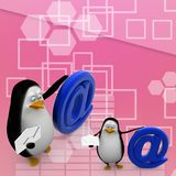 3d render of a penguin with at the rate symbol Illustration Stock Photo