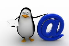3d render of a penguin with at the rate symbol Stock Photo