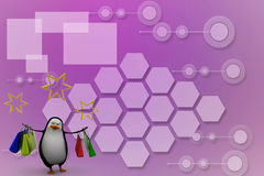 3d render of a penguin with shopping bags Illustration Royalty Free Stock Image