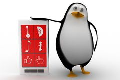 3d render of a penguin with a smart phone Royalty Free Stock Photography