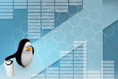 3d render of a penguin with a spray can illustration Stock Photo
