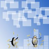 3d render of a penguin surrounded by dollars Illustration Stock Image