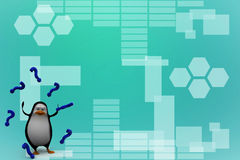 3d render of a penguin surrounded by question mark Illustration Stock Photography