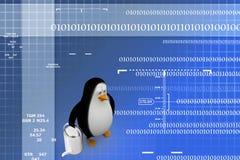 3d render of a penguin watering his garden Illustration Stock Photo