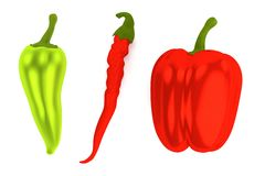 3d render of peppers Royalty Free Stock Image