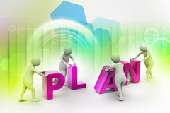 3d render of person placing plan letters Royalty Free Stock Photo