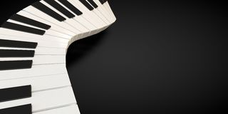 3d render of a piano keyboard in a fluid wavelike movement. Music royalty free illustration