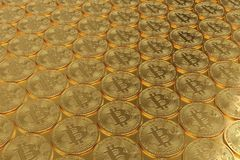 Pile of bitcoin, 3D illustration Stock Image