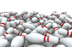 Bowling pins pile. 3D render of piled bowling pins Stock Image