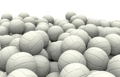 White soccer balls pile. 3D render of piled soccer balls Royalty Free Stock Image