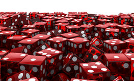Red dice pile. 3D render of piled transparent red dice Stock Photography