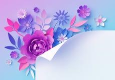 3d pink blue neon paper flowers, pastel color botanical wallpaper, blank banner, page curl, isolated corner design element. 3d render, pink blue neon paper vector illustration