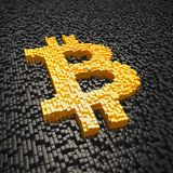 3d render - pixelated bitcoin symbol made from cubes - gold. 3d render of pixelated bitcoin symbol in gold made from cubes over black cubes Royalty Free Stock Photo