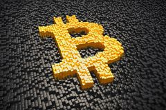 3d render - pixelated bitcoin symbol made from cubes - gold. 3d render of pixelated bitcoin symbol in gold made from cubes over black cubes Stock Photography