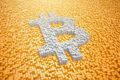 3d render - pixelated bitcoin symbol made from cubes - orange. 3d render of pixelated bitcoin symbol in silver made from cubes over orange cubes Royalty Free Stock Photography