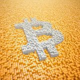 3d render - pixelated bitcoin symbol made from cubes - orange. 3d render of pixelated bitcoin symbol in silver made from cubes over orange cubes Stock Image