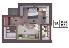 3d render plan / layout of a modern one bedroom apartment. Top view Stock Photo