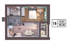3d render plan / layout of a modern one bedroom apartment. Top view Stock Images