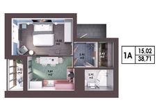 3d render plan / layout of a modern one bedroom apartment. Top view Stock Photos