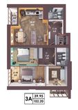 3d render plan / layout of a modern three bedroom apartment. Top view Stock Photos