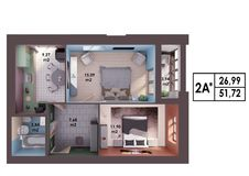 3d render plan / layout of a modern two bedroom apartment. Top view Royalty Free Stock Photo