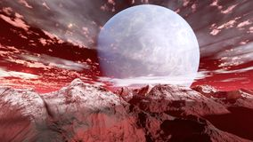 3d render of a planet with mountains. 3d render of a fantasy planet in space with red mountains and clouds stock image