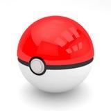 3d render of pokeball. Pokeball from famous Japanese cartoon Pokemon animation or smartphone app Pokemon GO Royalty Free Stock Photos