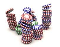 Poker chips falling. 3d render Poker chips falling vector illustration