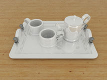 3D render of a porcelain teacup with cups on a wooden surface Royalty Free Stock Photo