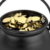 3d render of pot with money Royalty Free Stock Photos